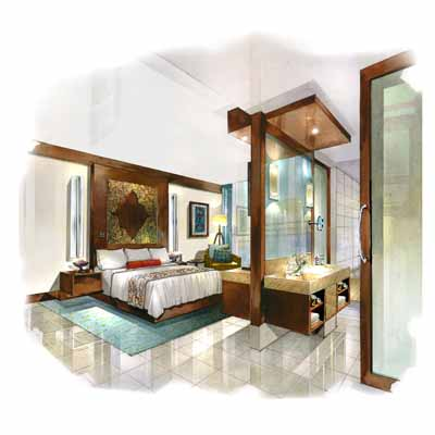 Interior hand renderings for Interior design rendered images